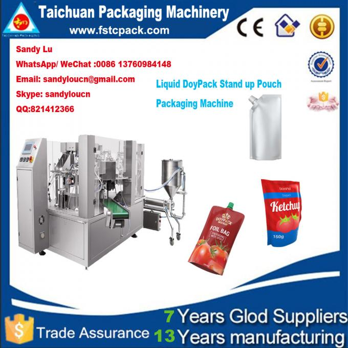 Doypack stand up pouch filling , sealing , packging machine for liquid , oil